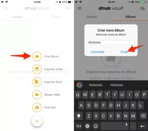 Ação para criar um álbum para fotos pessoais no app DFNDR VAULT para iPhone (Foto: Reprodução/Marvin Costa)
