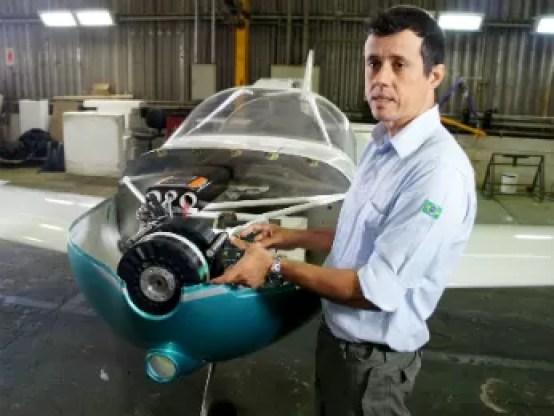 Avião elétrico Itaipu; Alexandre Zaramella (Foto: Fabiula Wurmeister / G1)