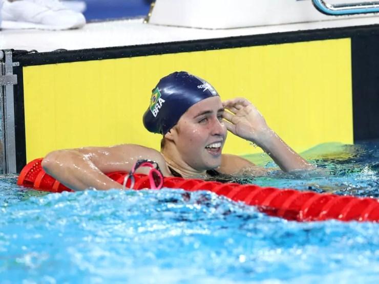 Viviane Jungblut após a chegada nos 800m livre — Foto: Ricardo Bufolin/Panamerica Press