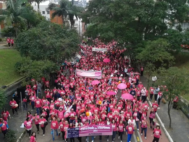 Caminhada tem camiseta personalizada na cor rosa (Foto: Vanessa Felippe/RBS TV)