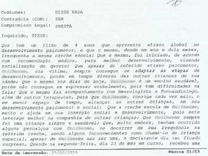 Pais registram queixa na delegacia (Foto: Reprodução/Boletim de ocorrência)