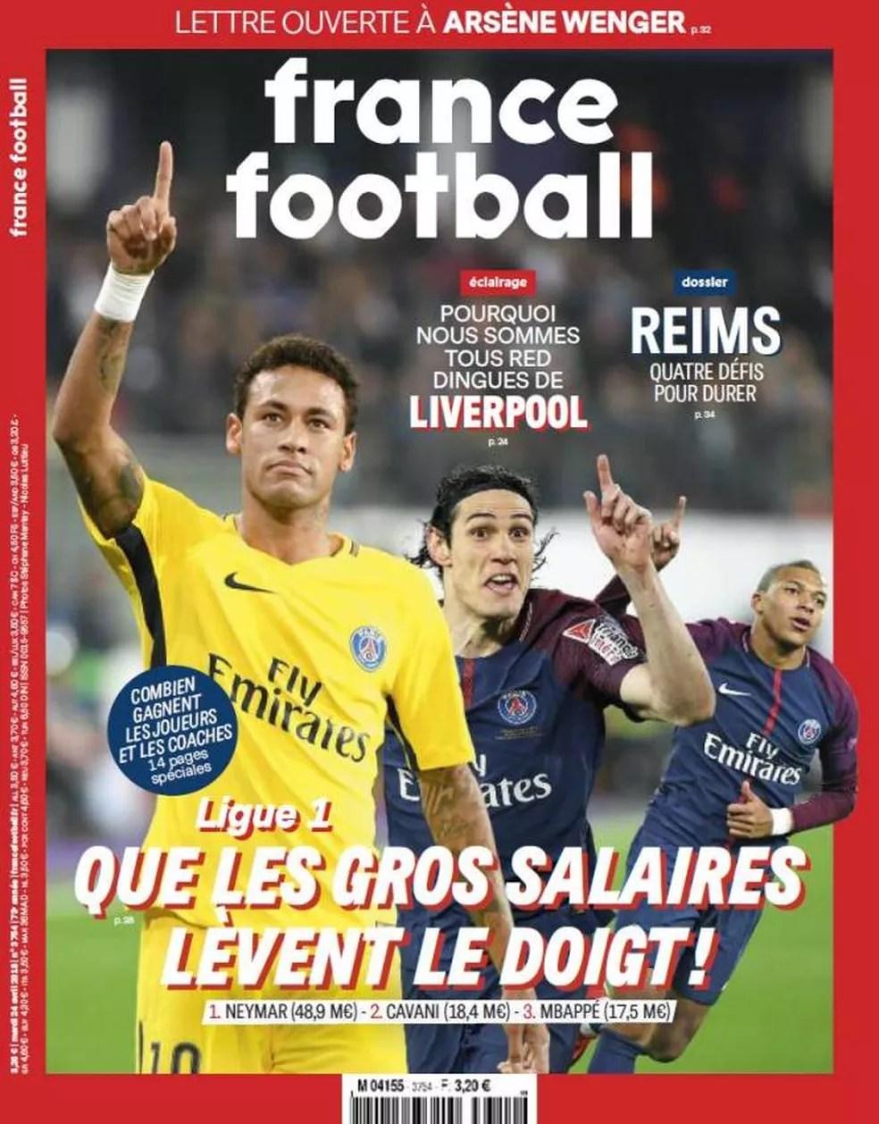 Capa da edição que traz os maiores salários. Na França, Neymar é disparado o mais bem pago, seguido por Cavani e Mbappé. (Foto: Divulgação)
