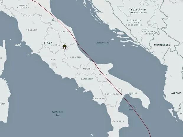Forte terremoto atinge a região central da Itália (Foto: Reprodução / USGS)
