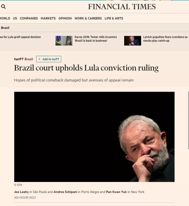 Lula no 'Financial Times' (Foto: Reprodução/Financial Times)