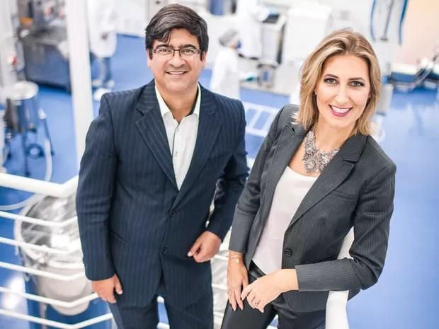 Ricardo Henrique Ramos, CEO, e Betina Giehl Zanetti Ramos, diretora técnica da Nanovetores Tecnologia SA (Foto: Michel Theo Sin/Divulgação)