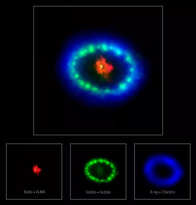 A mancha detectada pelos astrônomos. Acima cada cor representa sua detecção por um aparelho diferente (Foto: ALMA (ESO/NAOJ/NRAO), P. Cigan and R. Indebetouw; NRAO/AUI/NSF, B. Saxton; NASA/ESA)