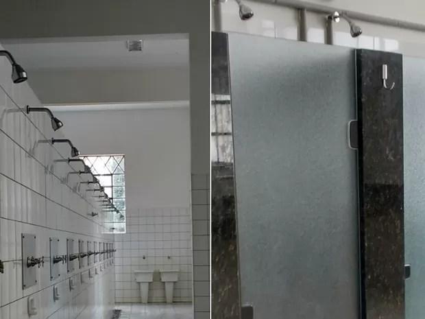 Banheiros masculino e feminino na EsPCEx (Foto: Renata Victal)