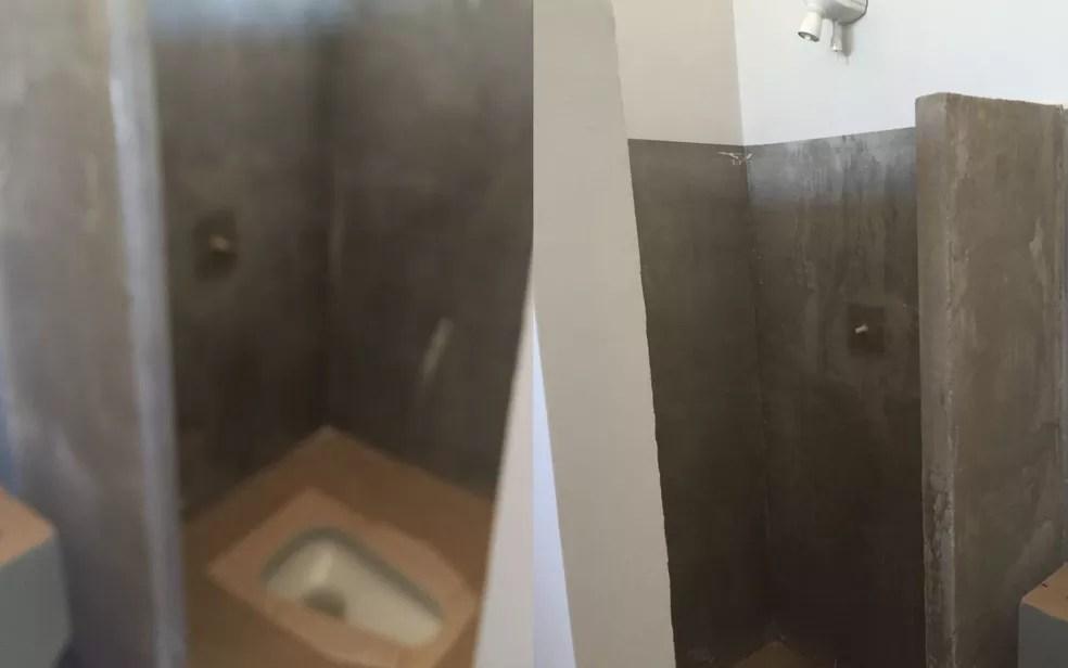 Sanitário e chuveiro da cela dividida pelo bispo Dom José Ronaldo e outros presos em operação que apura desvio de mais de R$ 2 milhões de dízimo da Diocese de Formosa (Foto: Douglas Chegury/Arquivo Pessoal)