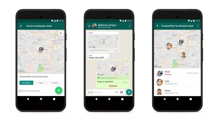 WhatsApp exibe localização ao vivo; recurso foi liberado em outubro de 2017 (Foto: Divulgação/WhatsApp)