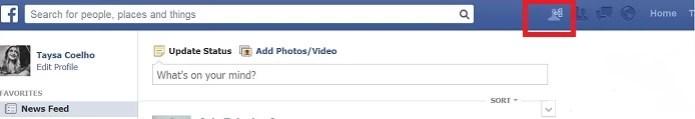 Um novo ícone surge no menu do Facebook (Reprodução/ Taysa Coelho) (Foto: Um novo ícone surge no menu do Facebook (Reprodução/ Taysa Coelho))