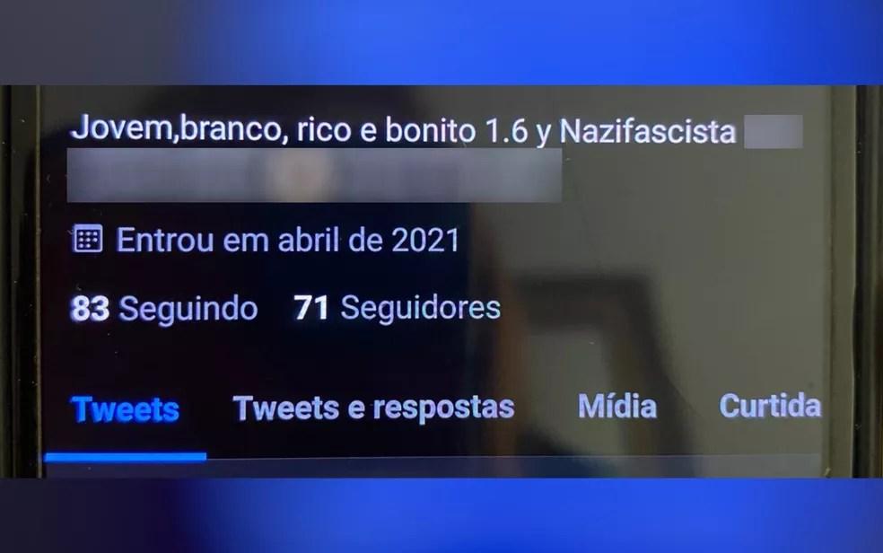 Adolescente tinha perfil de cunho nazista em rede social, em Goiânia — Foto: Reprodução/TV Anhanguera