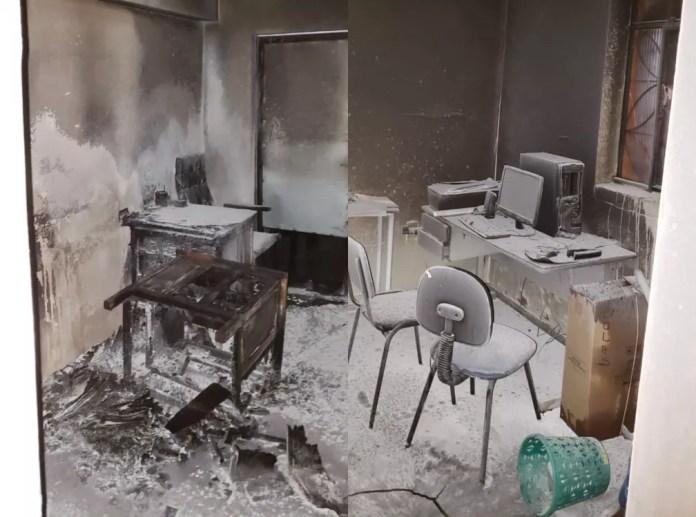 Sala do presidente do Castelo, após incêndio  — Foto: Arquivo pessoal