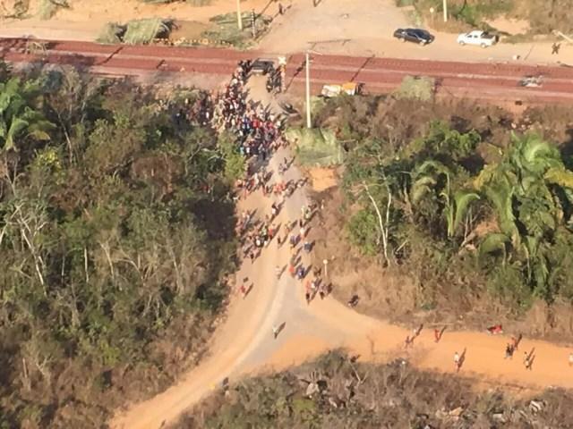 Manifestantes interditaram a Estrada de Ferro Carajás, no sudeste do Pará. (Foto: Divulgação / Segup)