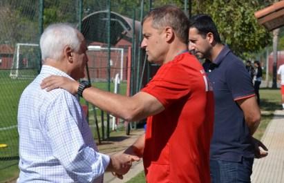 Presidente Leco e Diego Aguirre no São Paulo — Foto: Érico Leonan/saopaulofc.net