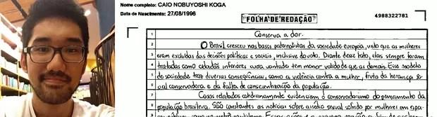Trecho da redação do estudante Caio Koga (Foto: Arquivo pessoal/ Divulgação)
