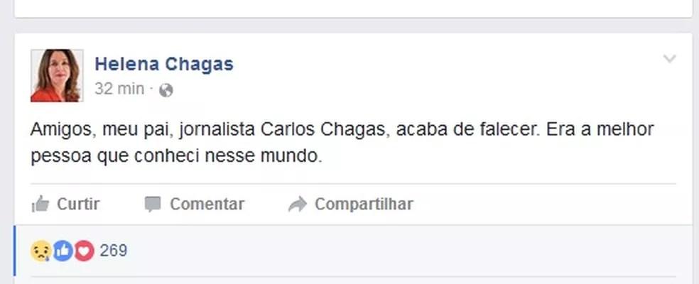 Publicação da ex-ministra Helena Chagas sobre a morte do pai (Foto: Reprodução)