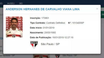 Hernanes, do São Paulo, aparece inscrito no BID — Foto: Reprodução