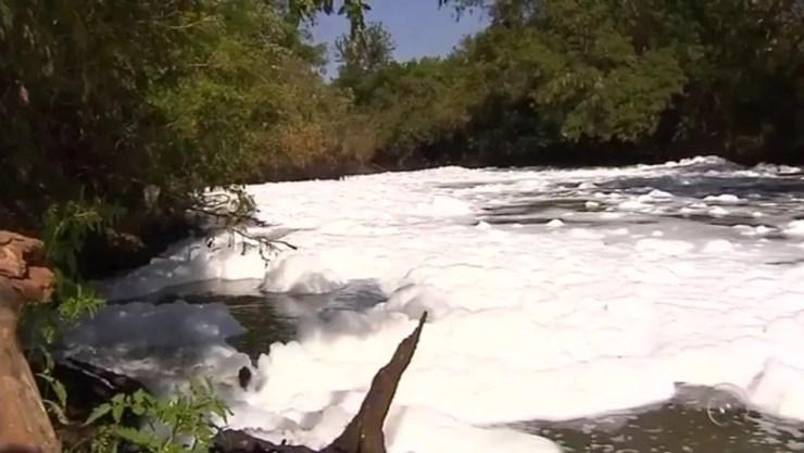 Espuma que se formou no rio Preto (Foto: Reprodução/TV TEM)