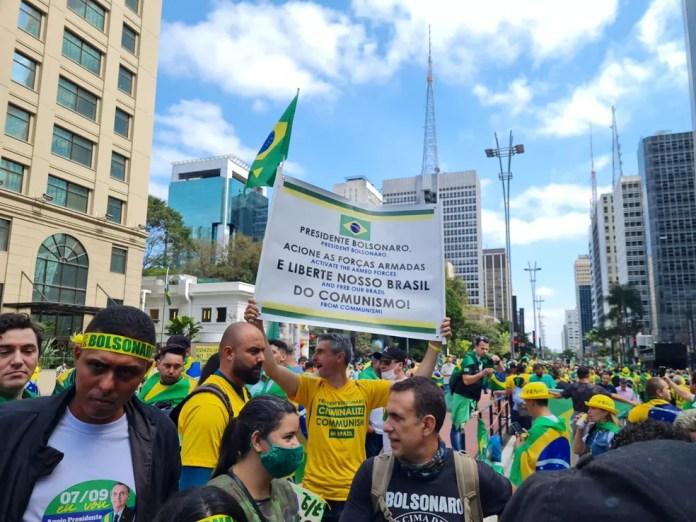 Protesto antidemocrático na Avenida Paulista reúne apoiadores do presidente Bolsonaro — Foto: G1 SP