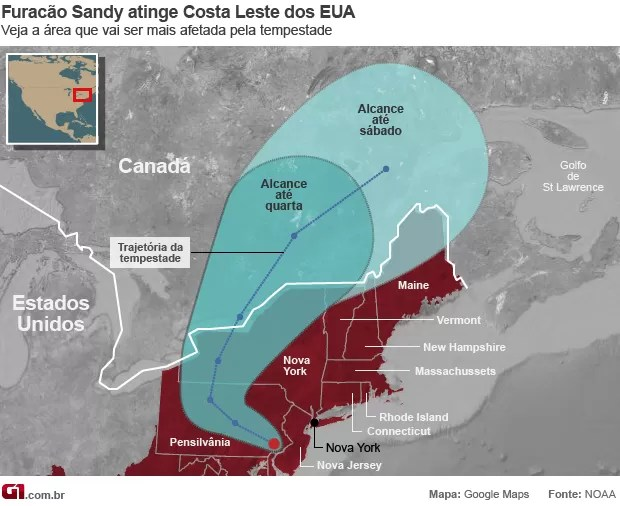 mapa furacao sandy 30/10 (Foto: AP)