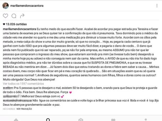 Marília Mendonça se pronuncia em postagem na internet (Foto: Reprodução/Instagram)