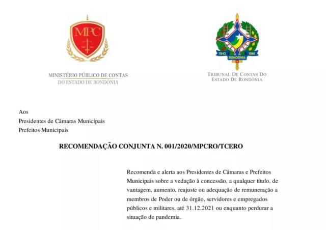 Recomendação Conjunta do Ministério Público de Contas de Rondônia (MPC-RO) e Tribunal de Contas do Estado (TCE-RO) — Foto: Reprodução