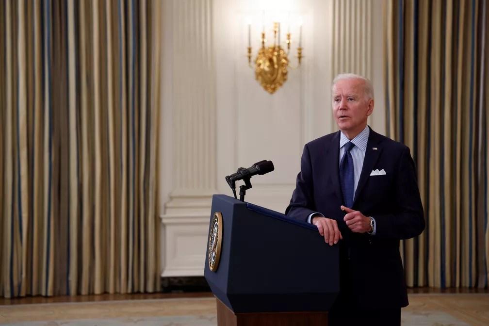 Presidente dos EUA, Joe Biden, em entrevista coletiva na Casa Branca em 4 de maio de 2021 — Foto: Jonathan Ernst/Reuters