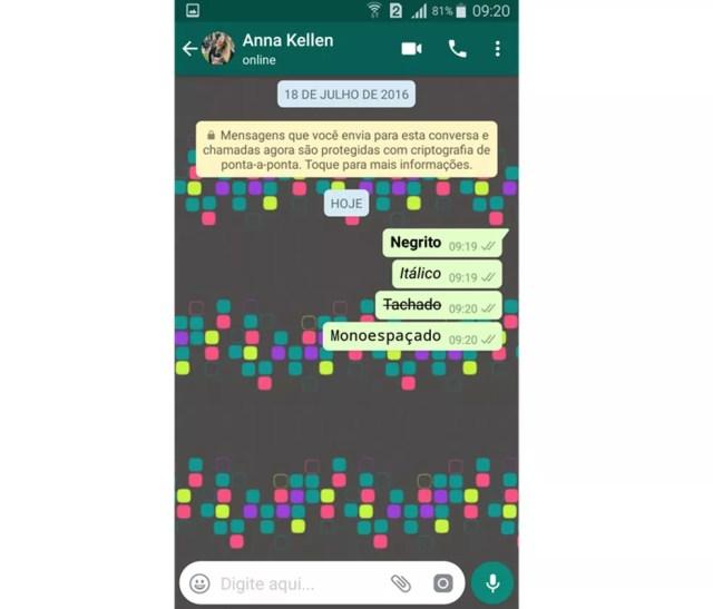 WhatsApp possui quatro estilos de formatação de texto (Foto: Reprodução/Aline Batista)