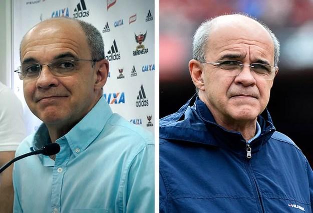 Bandeira em 2013 e em 2018: em seis anos, soluções administrativas, transformações econômicas, mas fracassos no futebol — Foto: Cahê Mota / Marcos Ribolli