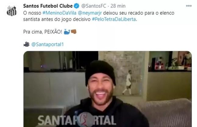Neymar manda recado ao Santos — Foto: Reprodução