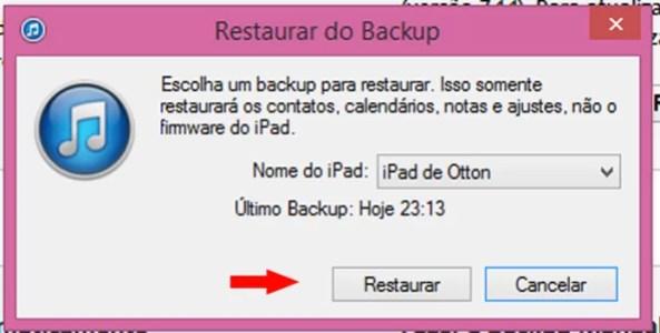 Selecione o dispositivo e clique em Restaurar (Foto: Reprodução/Otton Moura)