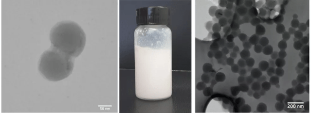 Repelente para superfícies desenvolvido na Unicamp, com suas microscopias — Foto: Guilherme Gomes/Liliane Lona