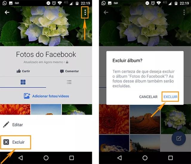 Exclua o álbum de uma vez do Facebook pelo aplicativo Android (Foto: Reprodução/Barbara Mannara)