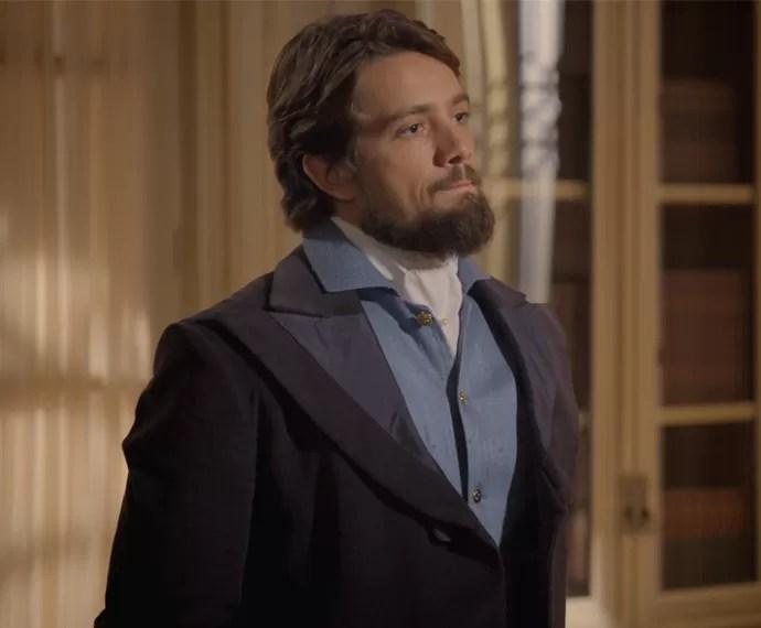 Felipe perde a paciência com a Condessa e o padre (Foto: TV Globo)