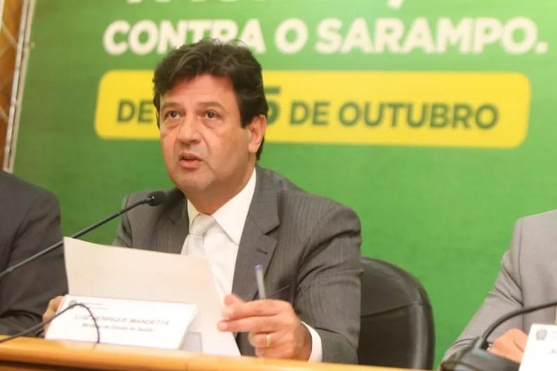 Luiz Henrique Mandetta, ministro da Saúde, durante o lançamento da campanha nacional de vacinação contra o sarampo — Foto: Divulgação/Ministério da Saúde