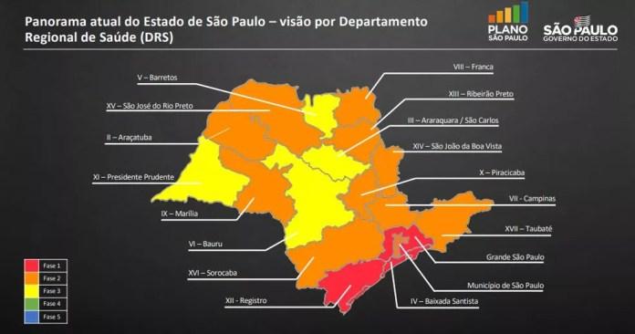 Pelo Plano São Paulo, Marília estaria na área amarela, mas prefeito decidiu jogar a cidade como a única na área verde — Foto: Governo de São Paulo/Divulgação
