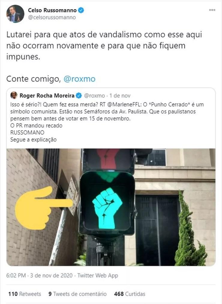 """Celso Russomanno afirma no Twitter que punho cerrado em semáforo é """"ato de vandalismo"""". — Foto: Reprodução/Twitter"""