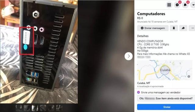 Computadores anunciados para venda na internet tinham selo de patrimônio do estado — Foto: Divulgação
