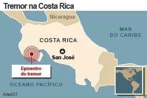 mapa terremoto costa rica (Foto: Arte/G1)