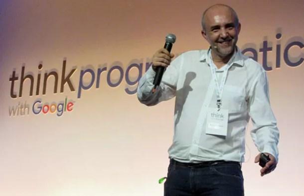 Adriano Henriques, chefe de Plataformas de Mídia do Google, durante evento nesta terça-feira (29), em São Paulo (Foto: Darlan Alvarenga/G1)