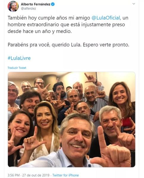 Resultado de imagem para alberto Fernández faz L