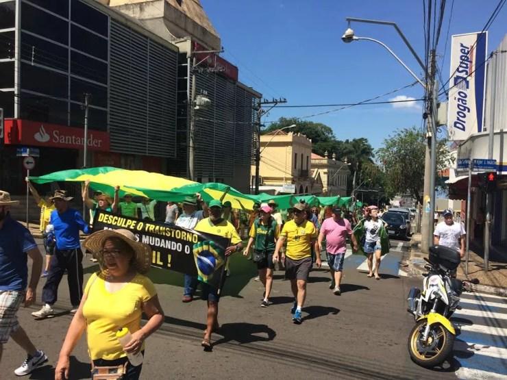 Protesto à favor da Operação Lava Jato em São Carlos, SP (Foto: Ana Marin/G1)