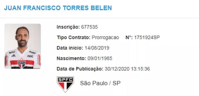 Juanfran tem extensão de contrato com o São Paulo no BID — Foto: Reprodução