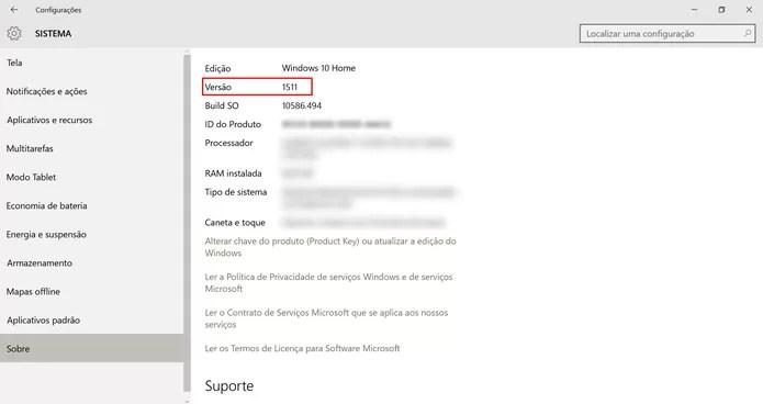 Windows 10 precisa estar na versão 1511 para atualização para versão Pro (Foto: Reprodução/Elson de Souza)