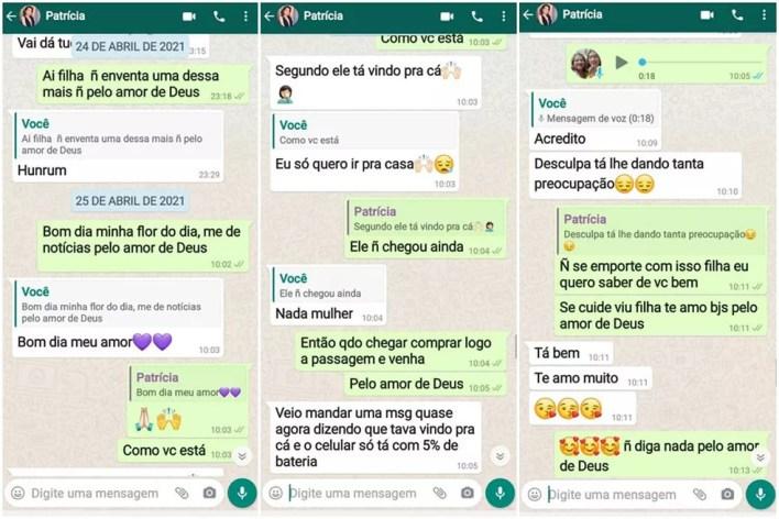 Mensagens entre Patrícia e a mãe antes da jovem desaparecer, em João Pessoa — Foto: Reprodução