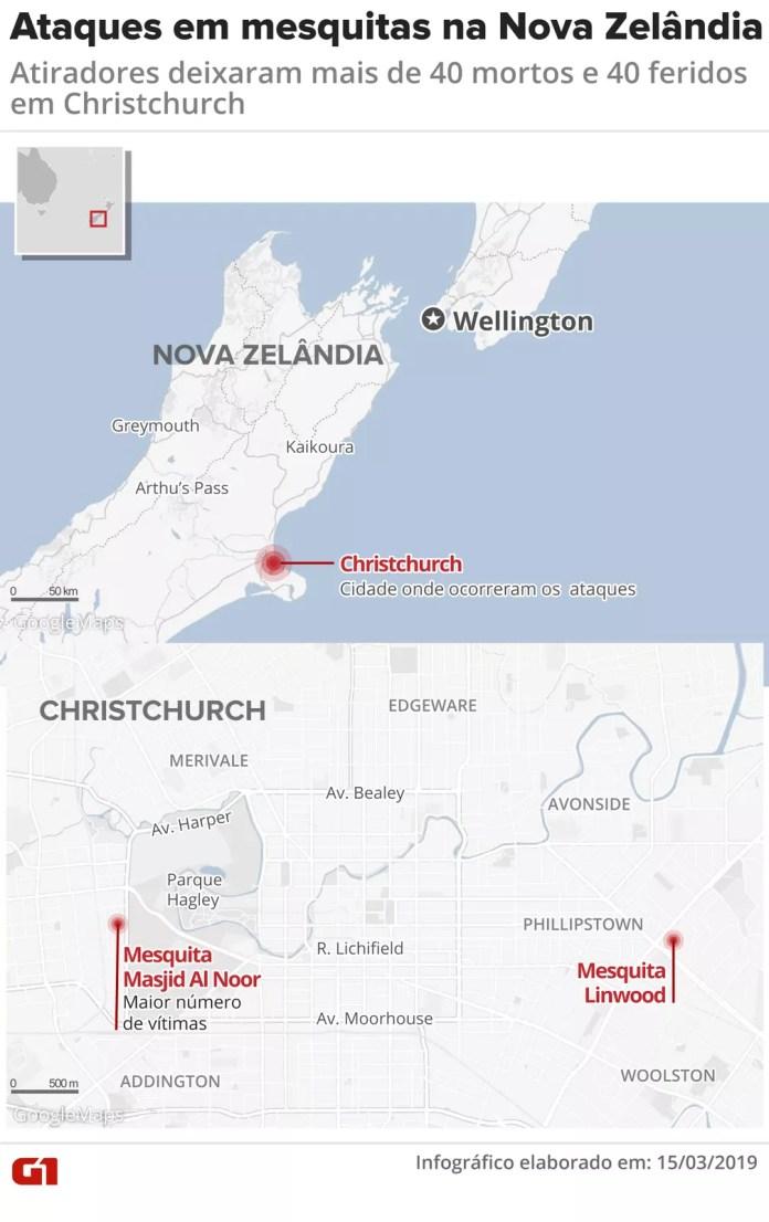Ataques em mesquitas na Nova Zelândia — Foto: Juliane Souza/G1