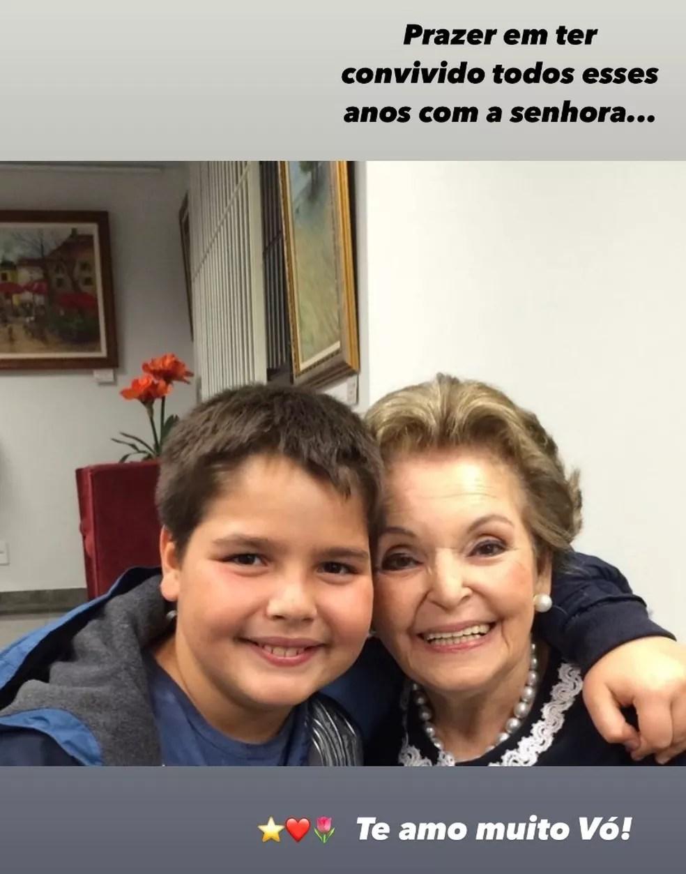 João Guilherme, um dos filhos de Faustão, faz homenagem para a avó — Foto: Reprodução/Instagram