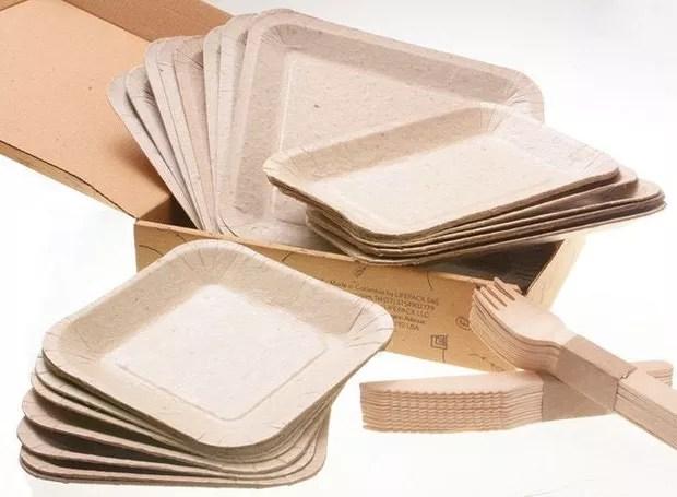 Pratos e talheres descartáveis para plantar (Foto: Divulgação)