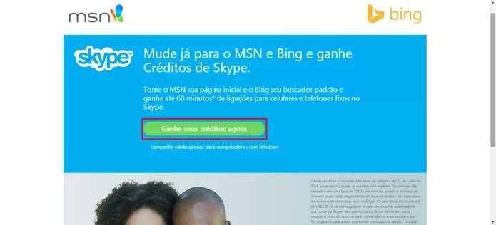 Skype dá créditos de até 60 minutos grátis para ligações para os usuários do Bing e MSN (Foto: Reprodução/Elson de Souza)