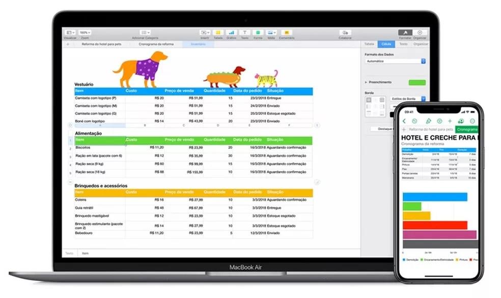 Focado na estética, o Numbers é uma versão do Excel para usuários da Apple — Foto: Reprodução/Carol Fernandes